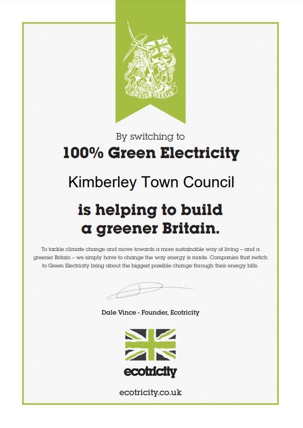 KTC Ecotricity Certificate