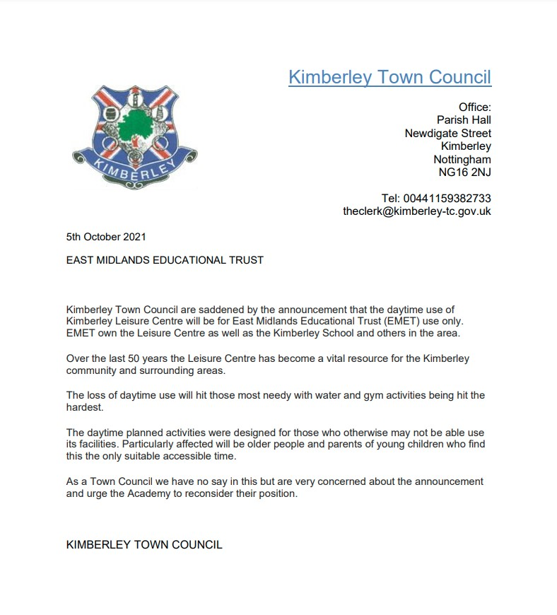 Kimberley Leisure Centre Announcement - Letter to EMEt